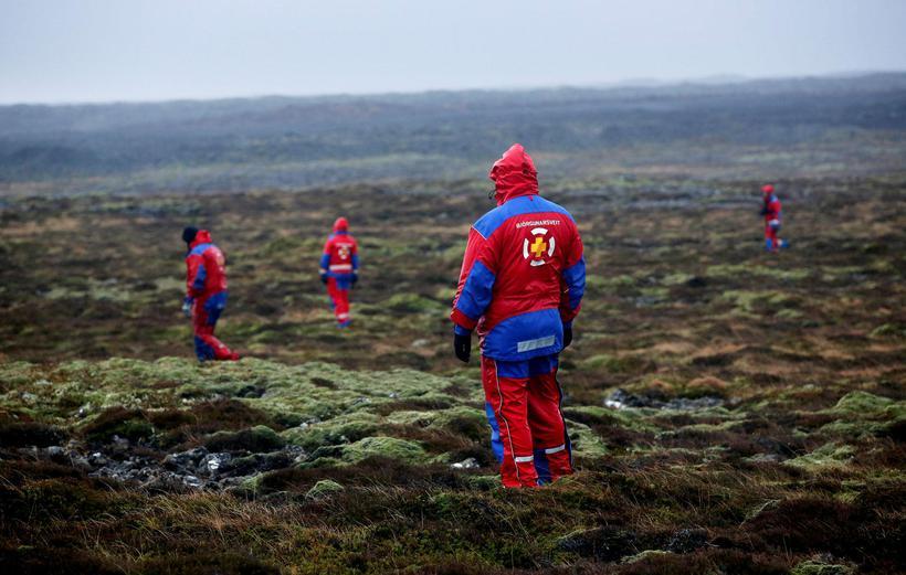 SAR teams looking for Birna in the lavafields near Hafnarfjörður.