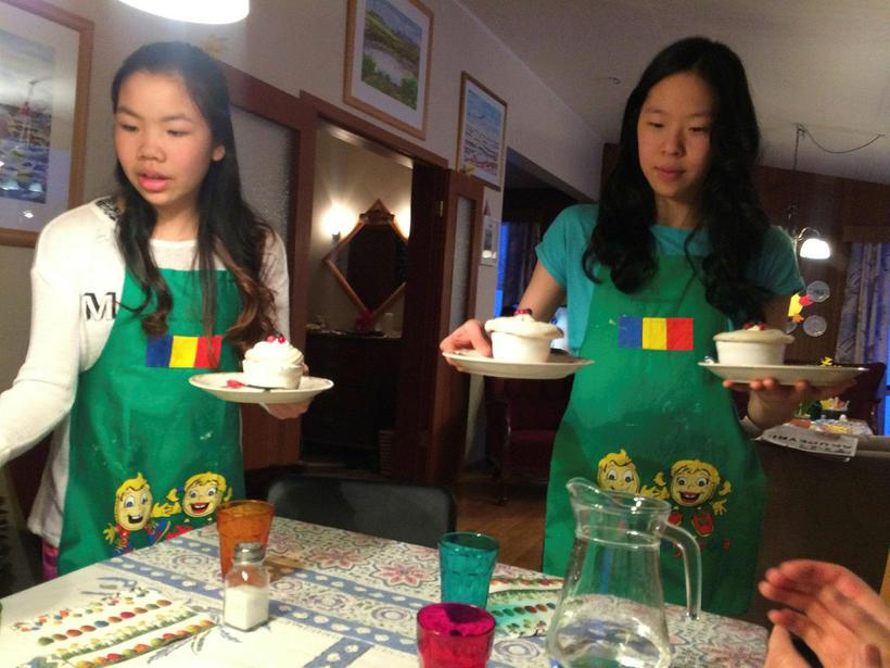 Dóróthea and Alda preparing a chocolate dessert for their families.