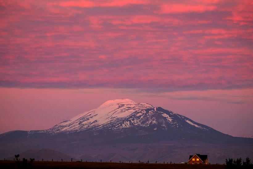 Hekla is located in South Iceland and erupts every ten ...