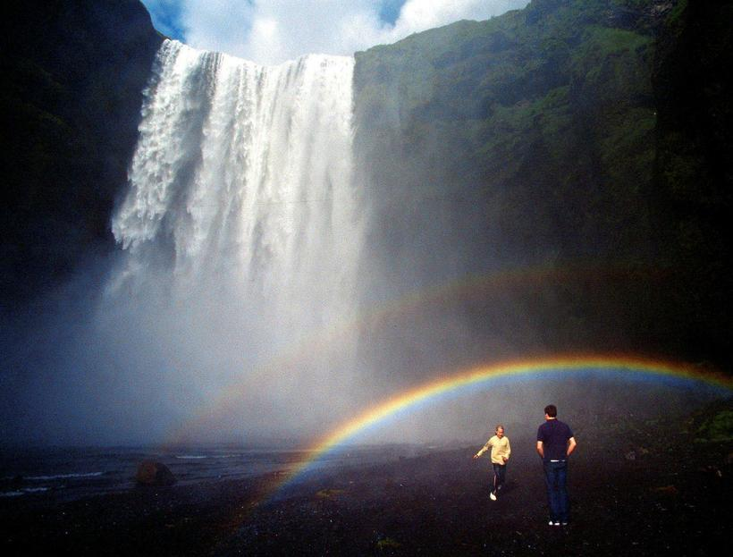 Skógafoss is a popular scene for shooting wedding photographs.