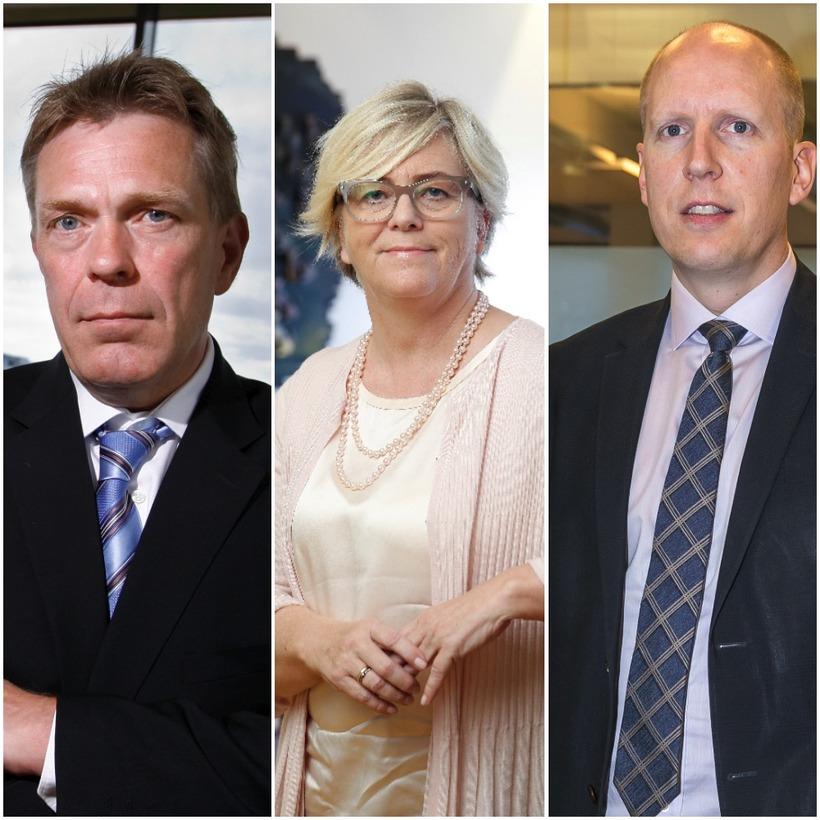 Stjórnendur bankanna, Höskuldur, Birna og Hreiðar.
