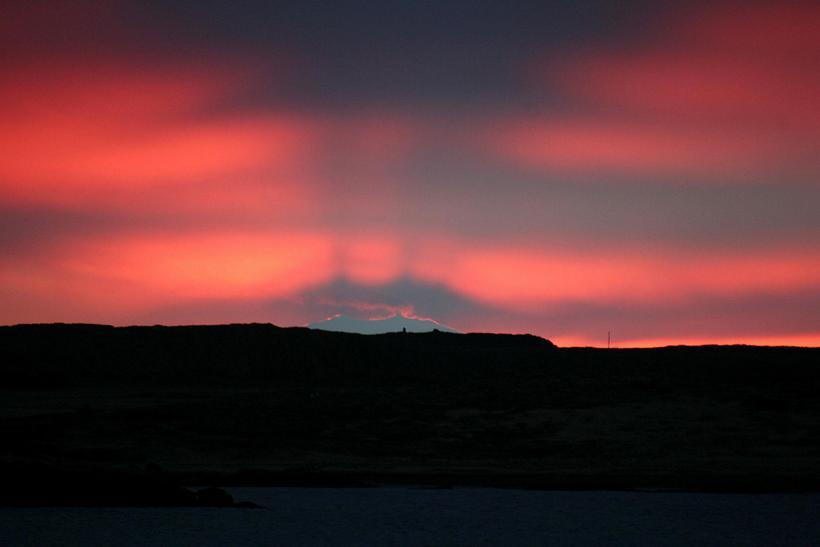 Snæfellsjökull Glacier bathed in sunset
