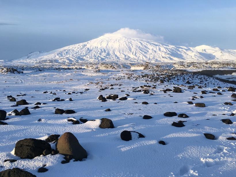 Snæfellsjökull Glacier, Snæfellsnes famous landmar, is visible from Reykjavik on ...