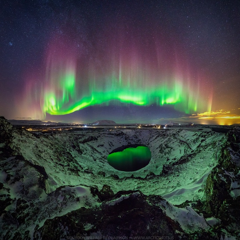 Kerið, a volcanic crater lake located in South Iceland's Golden ...