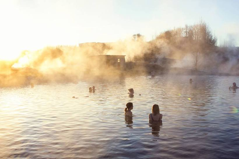 Secret Lagoon is a bit steamy when there's frost outside, ...