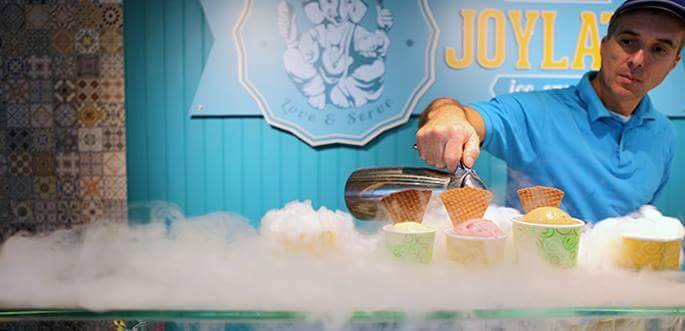 The ice cream is frozen to order using liquid nitrogen.