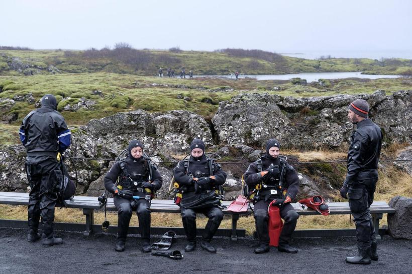 Kafarar við Silfru á Þingvöllum.