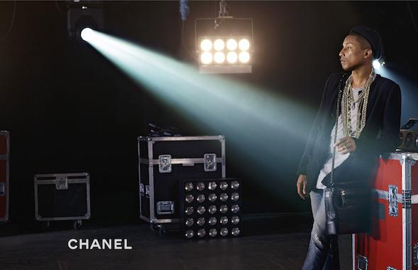 Pharrel Williams auglýsir handtöskur.