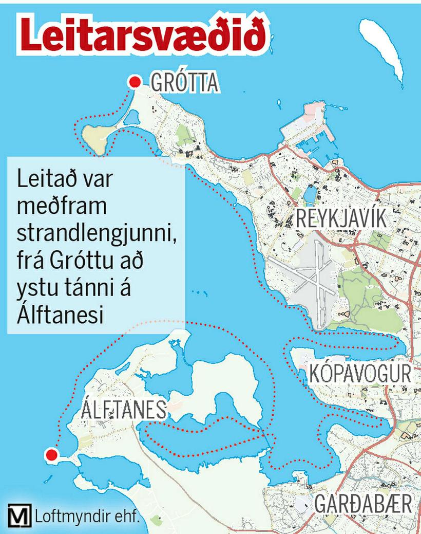 Leitað var meðfram strandlengjunni frá Gróttu að Álftanesi.