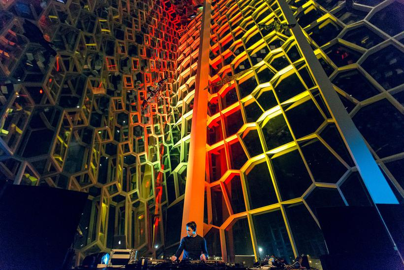 A DJ performing at Sónar Music Festival at Harpa.