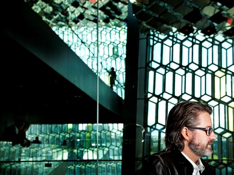 Designer Ólafur Elíasson inside Harpa.