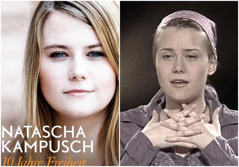 Natascha Kampusch árið 2016 (t.v.) og 2006, í fyrsta viðtalinu ...