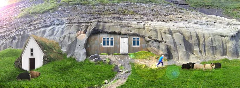 This is how the the home at Laugarvatnshellir cave used ...