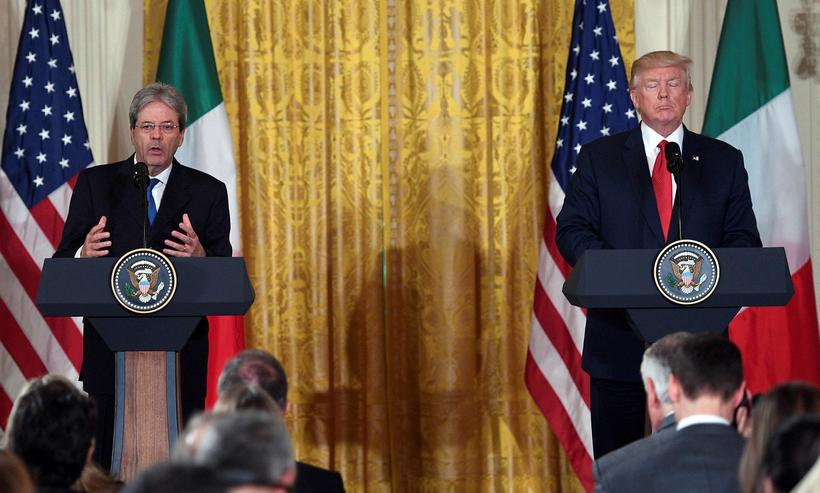 Paolo Gentiloni, forsætisráðherra Ítalíu, og Donald Trump forseti Bandaríkjanna.
