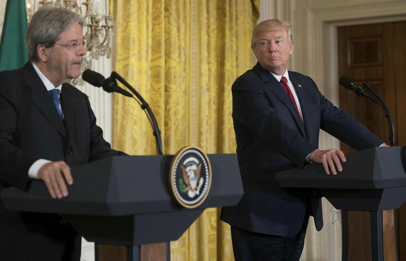 Donald Trump, forseti Bandaríkjanna, og Paolo Gentiloni, forsætisráðherra Ítalíu, á ...