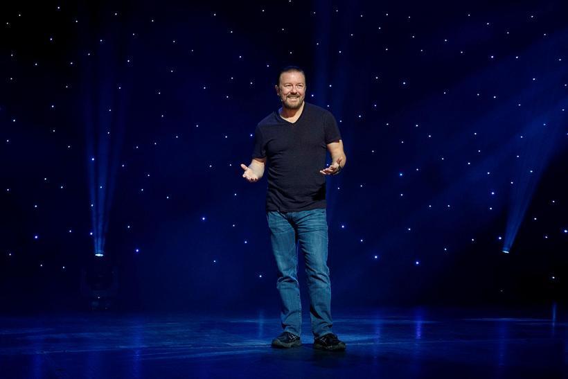 Ricky Gervais var í banastuði í gær.