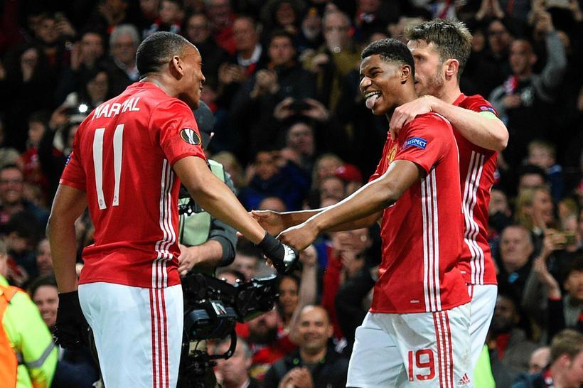 Liðsmenn Manchester United fagna marki gegn Anderlecht í gærkvöld.