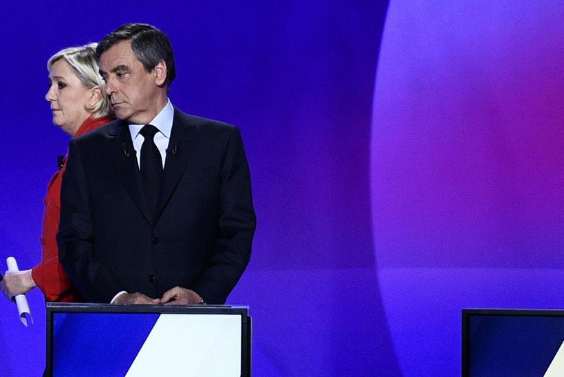 Francois Fillon, frambjóðandi franska Repúblikanaflokksins, og Marine Le Pen, frambjóðandi ...