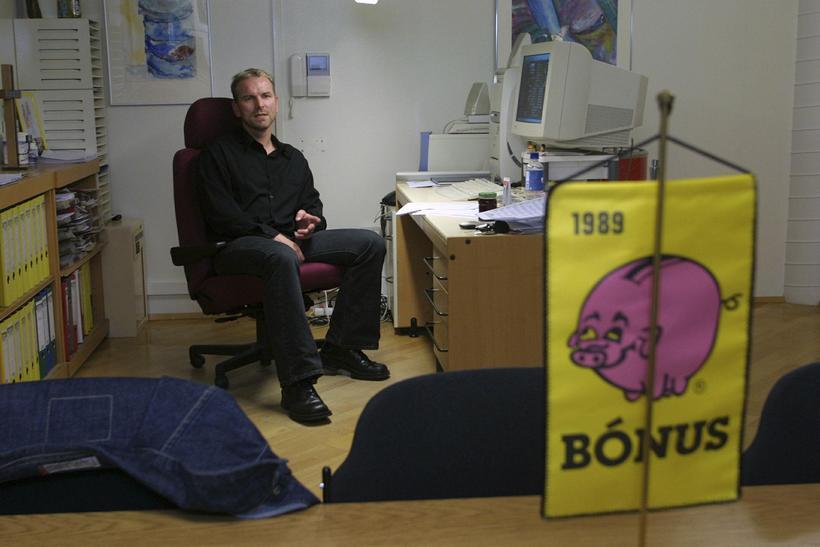 Guðmundur Marteinsson, framkvæmdastjóri Bónuss, á skrifstofunni.