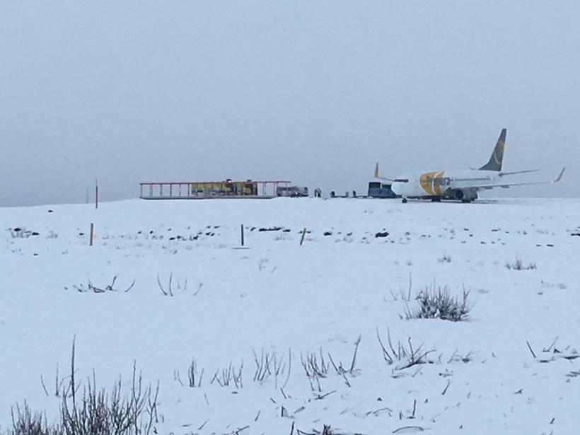 Flugvél Primera Air á Keflavíkurflugvelli í dag.