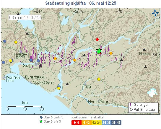 The earthquake epicenter is market with a green star, about ...