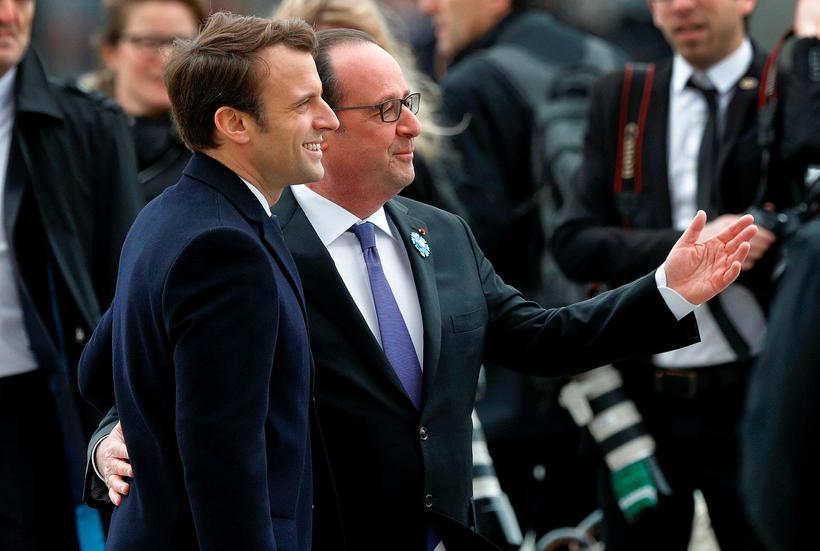 François Hollande og Emmanuel Macron fögnuðu saman í dag en ...