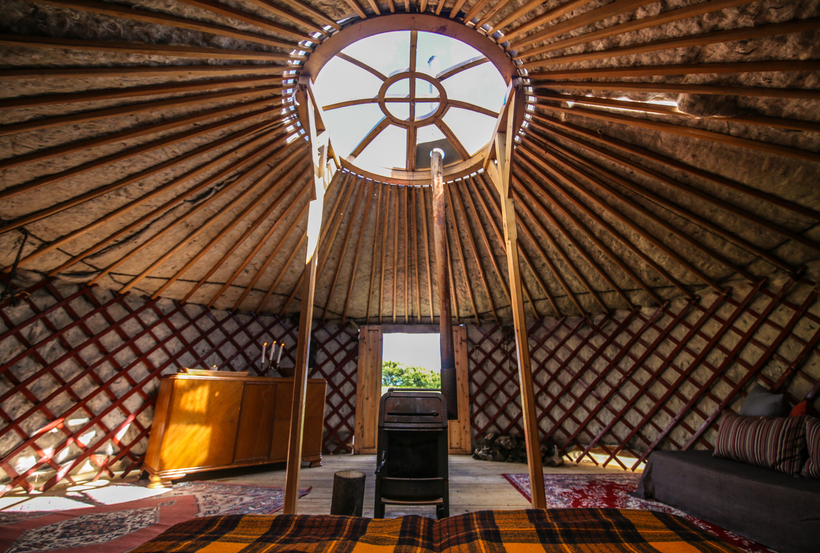 Inside the Mongolian Yurt on the island, where guests stay ...