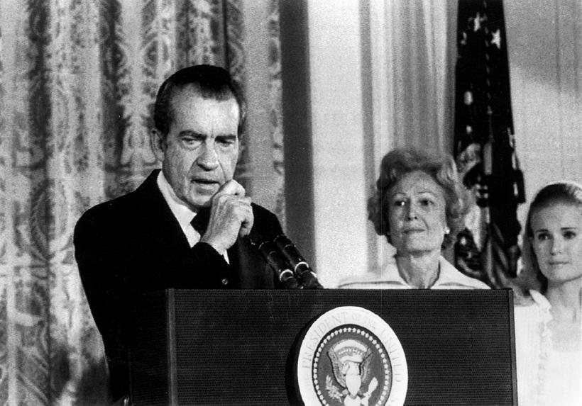 Richard M. Nixon flytur kveðjuræðu eftir afsögn sína fyrir starfsfólk ...