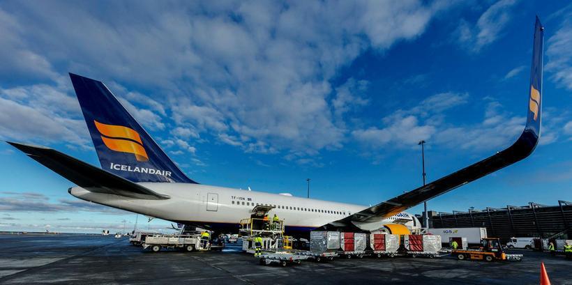 Þotu Icelandair sem var á flugi frá Fíladelfíu til Keflavíkur ...