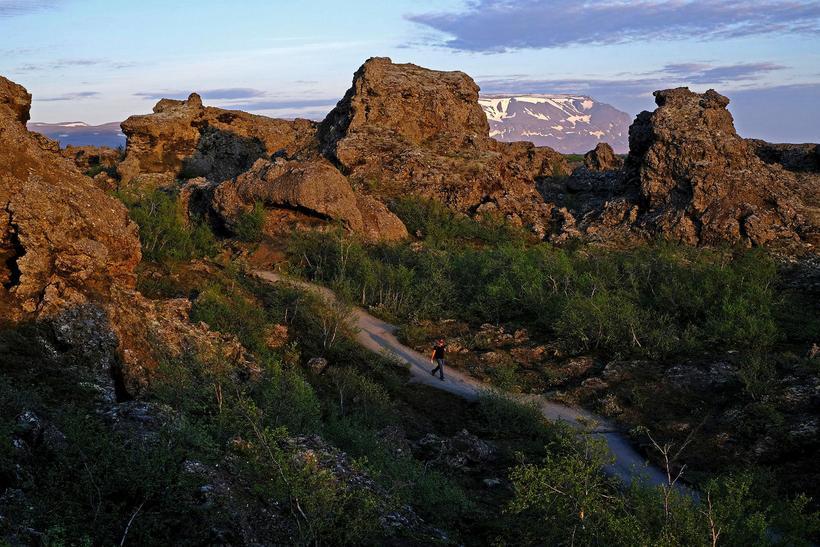 Dimmuborgir are tall lava stacks by Mývatn.