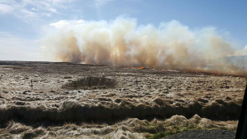 Stórt svæði brann í sinubrunanum á Snæfellsnesi.