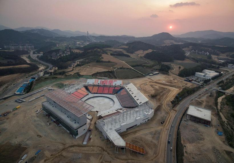Yfirlitsmynd yfir hluta keppnissvæðisins á Vetrarólympíuleikunum í PyeongChang.