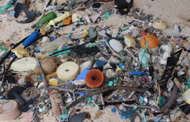 Talið er að um 17 tonn af plastúrgangi séu á ...