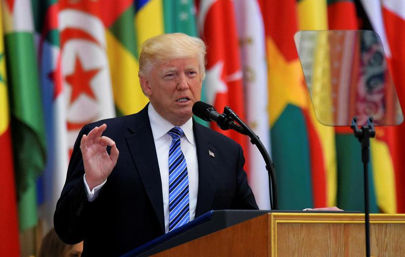 Donald Trump heldur ræðu sína.