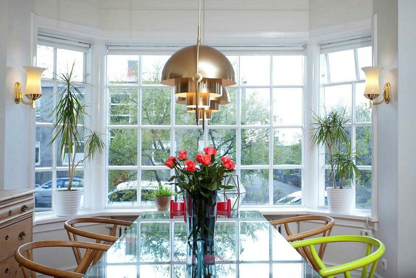 Beautiful French windows in the dining room.