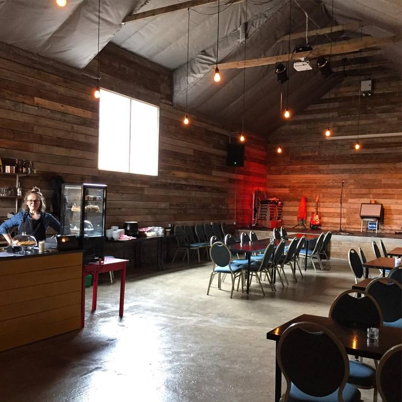 Inside the barn which doubles as a coffee shop, bar ...