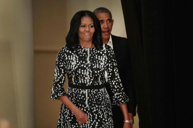 Obama-hjónin voru greinilega ánægð með húsið í Kalorama.