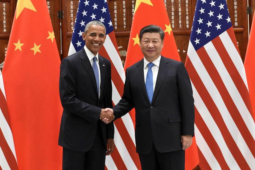 Forseti Kína Xi Jinping ásamt bandarískum starfsbróður sínum, Barack Obama.