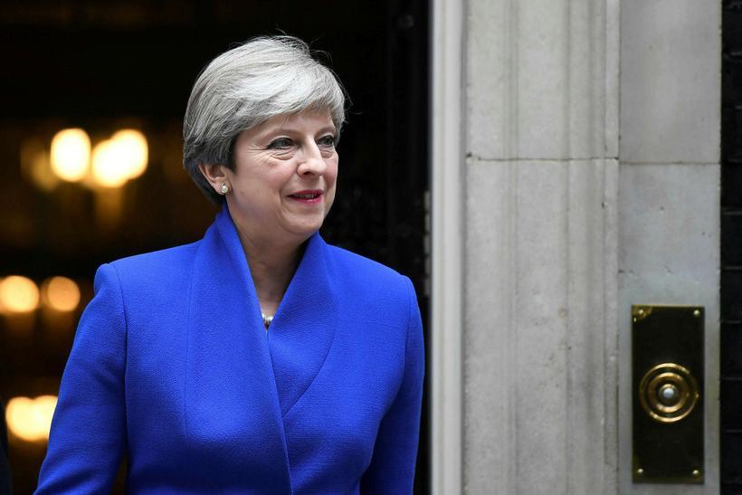 Theresa May, forsætisráðherra Bretlands, í dag.