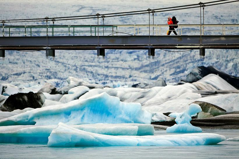 The barrier protects the bridge from icebergs large enough they ...
