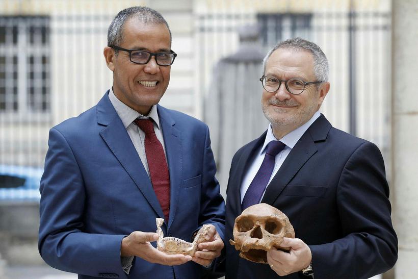 Jean-Jacques Hublin og Abdelouahed Ben-Ncer, frá fornleifastofnun Marokkó, með með ...