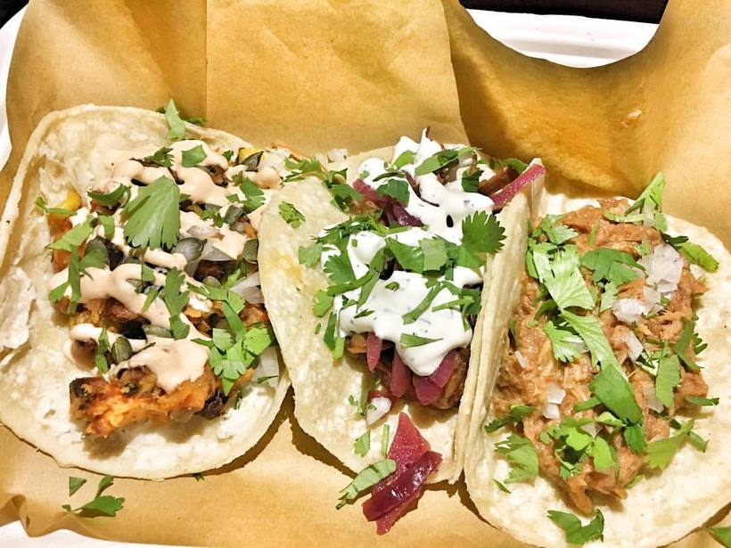Takk taco stand offers meat or vegan tacos.