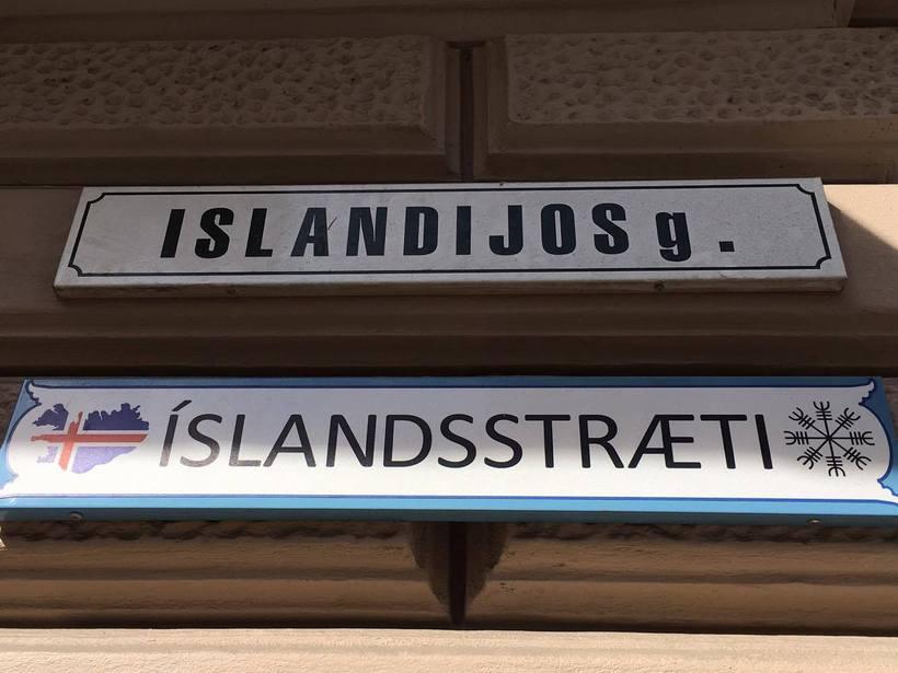 Íslandsstræti í Vilnius, höfuðborg Litháen.