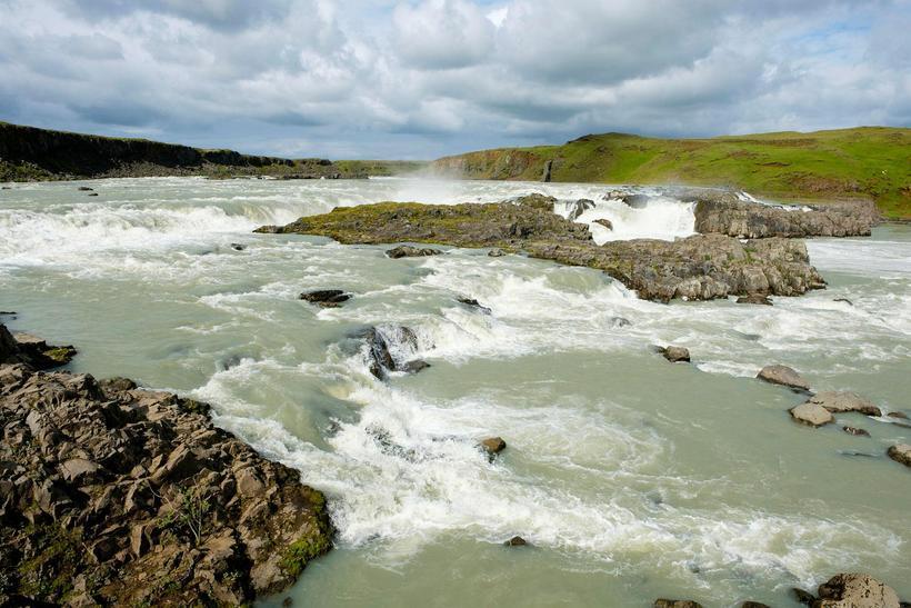 Urriðafoss waterfall in the Þjórsá river.