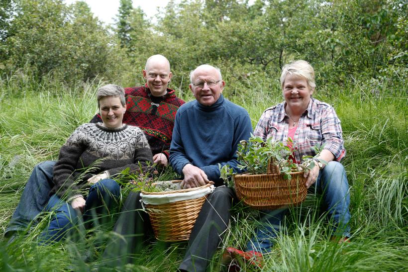 The family at Syðra-Skörðugil. Einar Eðvald Einarsson, his wife Sólborg ...