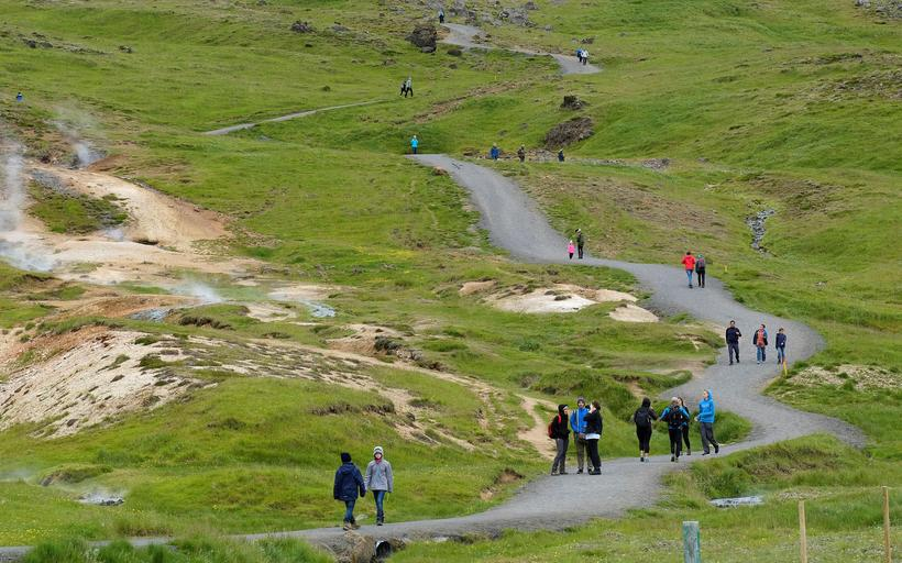New walking paths in Reykjadalur, South Iceland.