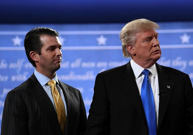 Feðgarnir Donald Trump Bandaríkjaforseti og Donald Trump yngri. Forsetinn segist ...