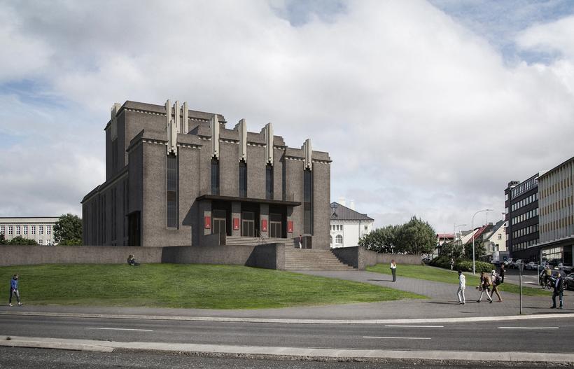 Hér má sjá mynd Guðna, sem sýnir Þjóðleikhúsið ef það ...