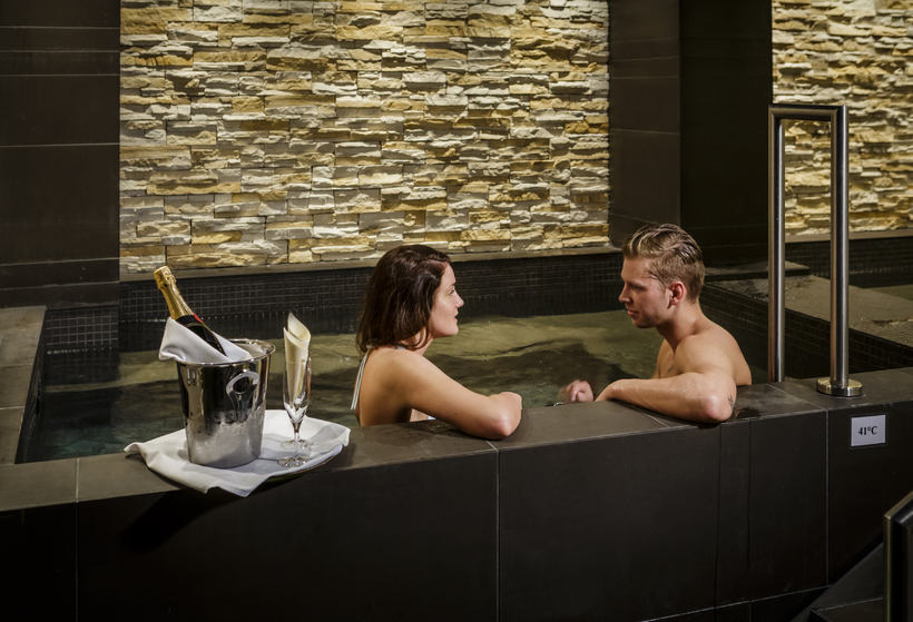 The spa offers two hot tubs, filled of course with ...