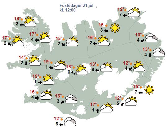 Víða verður léttskýjað og hlýtt á föstudag.